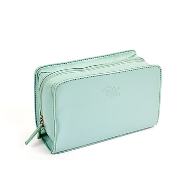 RKW Collection Genuine Leather Cosmetic Bag, Pale Blue