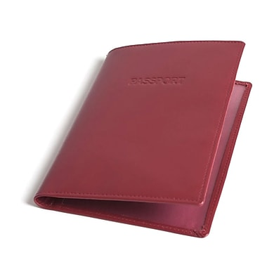 RKW Collection Genuine Leather Passport Cover, Red