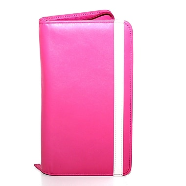 RKW Collection Zippered Genuine Leather Travel Wallet, Hot Pink