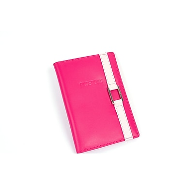 RKW Collection Genuine Leather Passport Cover, Hot Pink/Pale Pink Buckle