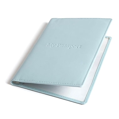 RKW Collection Genuine Leather Passport Cover, Pale Blue