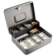 "MMF Industries™ STEELMASTER® Tiered Tray Cash Box, Charcoal Gray, 3 3/16""H x 11 13/16""W x 9 7/16""D"