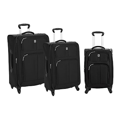 Delsey® Amherst 3-Piece Expandable Spinner Trolley Luggage Sets, Black