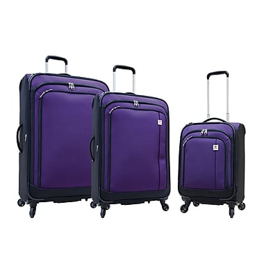 Samboro Feather Lite 3-Piece Expandable Spinner Luggage Sets, Purple