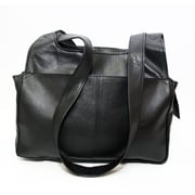 Ashlin® Leather Leone Ladies Organizer Bag, Black