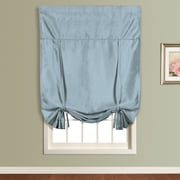 United Curtain Co. Anna Faux Silk Tie-Up Shade; Blue