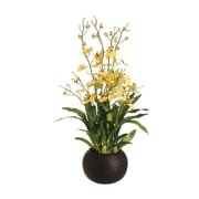 Tori Home 29'' Dancing Orchid with Sphere Vase in Yellow