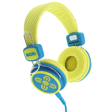 Moki ACCHPKSYB Kid Safe Volume Limited Headphones, Yellow/Blue