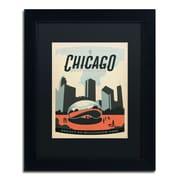 Trademark Anderson Chicago Cloud Gate Art, Black Matte With Black Frame, 11 x 14