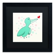"Trademark Carla Martell ""Dreamy Love Bird"" Art, Black Matte W/Black Frame, 16"" x 16"""