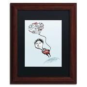 "Trademark Carla Martell ""Love Balloon"" Art, Black Matte W/Wood Frame, 11"" x 14"""