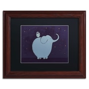 Trademark Carla Martell Owl and Elephant Art, Black Matte W/Wood Frame, 11 x 14