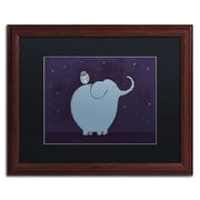 Trademark Carla Martell Owl and Elephant Art, Black Matte W/Wood Frame, 16 x 20