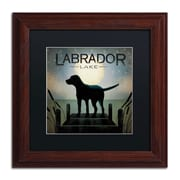 "Trademark Ryan Fowler ""Moonrise Black Dog Labrador Lake"" Art, Black Matte W/Wood Frame, 11"" x 11"""