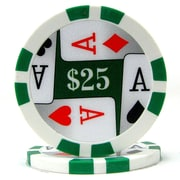 Trademark Poker™ 11.5g 4 Aces Premium $25 Poker Chips, Green, 50/Set