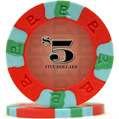 Trademark NexGen 9g Pro Classic Style $5 Poker Chips, Red, 50/Set 1449892