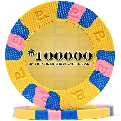 Trademark NexGen 9g Pro Classic Style $100000 Poker Chips, Yellow, 100/Set 1451210