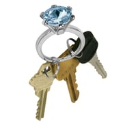 """Trademark 7/8"""" x 2 1/8"""" x 1 1/4"""" Bling Diamond Silver Style Ring Key Chain, Topaz Color Stone"""