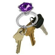"Trademark 7/8"" x 2 1/8"" x 1 1/4"" Bling Diamond Silver Style Ring Key Chains"
