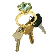 "Trademark 7/8"" x 2 1/8"" x 1 1/4"" Bling Diamond Gold Style Ring Key Chain, Peridot Color Stone"