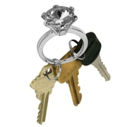 "Trademark 7/8"" x 2 1/8"" x 1 1/4"" Bling Diamond Silver Style Ring Key Chain, White Diamond Jewel"