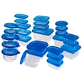 Trademark 54 Piece Plastic Food Container Set With Air Tight Lids, Blue/Clear