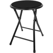 "Trademark 18"" Cushioned Folding Steel Stool, Black"