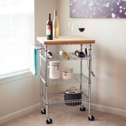 Trademark Lavish Home Butcher Block Bamboo Top Wine Dining Cart, Chrome