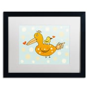 "Trademark Carla Martell ""Bird and Baby"" Art, White Matte W/Black Frame, 16"" x 20"""