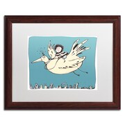 "Trademark Carla Martell ""Boy on Bird"" Art, White Matte W/Wood Frame, 16"" x 20"""