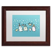 "Trademark Carla Martell ""Christmas Creatures in Blue"" Art, White Matte W/Wood Frame, 11"" x 14"""