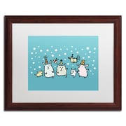 "Trademark Carla Martell ""Christmas Creatures in Blue"" Art, White Matte W/Wood Frame, 16"" x 20"""