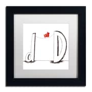 "Trademark Carla Martell ""D is for Dog"" Art, White Matte W/Black Frame, 11"" x 11"""