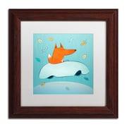 "Trademark Carla Martell ""Fox in Car"" Art, White Matte W/Wood Frame, 11"" x 11"""
