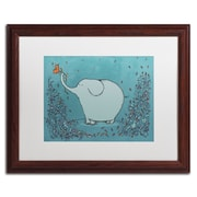 "Trademark Carla Martell ""Garden Elephant"" Art, White Matte W/Wood Frame, 16"" x 20"""