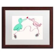 "Trademark Carla Martell ""Love Birds"" Art, White Matte W/Wood Frame, 16"" x 20"""