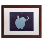 Trademark Carla Martell Owl and Elephant Art, White Matte W/Wood Frame, 16 x 20