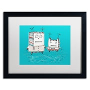 "Trademark Carla Martell ""Robots on Beach"" Art, White Matte W/Black Frame, 16"" x 20"""