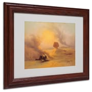 "Trademark Johann Frey ""Caravan Caught in Sinum Wind"" Art, White Matte With Wood Frame, 11"" x 14"""