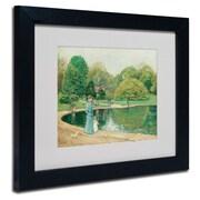 "Trademark Childe Hassam ""Central Park"" Art, White Matte With Black Frame, 11"" x 14"""