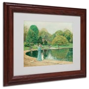 """Trademark Childe Hassam """"Central Park"""" Art, White Matte With Wood Frame, 11"""" x 14"""""""