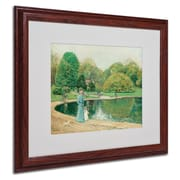 """Trademark Childe Hassam """"Central Park"""" Art, White Matte With Wood Frame, 16"""" x 20"""""""