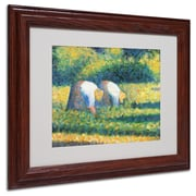 "Trademark Georges Seurat ""Farmers at Work 1882"" Art, White Matte With Wood Frame, 11"" x 14"""