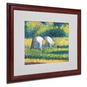 "Trademark Georges Seurat ""Farmers at Work 1882"" Art, White Matte With Wood Frame, 16"" x 20"""
