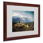 Trademark Achilles Tominetti Mountain Landscape Art, White Matte With wood Frame, 16 x 20
