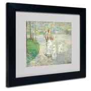 "Trademark Childe Hassam ""Spring in Central Park"" Art, White Matte With Black Frame, 11"" x 14"""