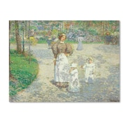 """Trademark Childe Hassam """"Spring in Central Park 1908"""" Gallery-Wrapped Canvas Art, 14"""" x 19"""""""