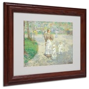 """Trademark Childe Hassam """"Spring in Central Park"""" Art, White Matte With Wood Frame, 11"""" x 14"""""""