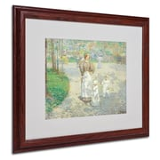 """Trademark Childe Hassam """"Spring in Central Park"""" Art, White Matte With Wood Frame, 16"""" x 20"""""""