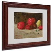 Trademark Gustave Courbet Apples and Pears Art, White Matte With Wood Frame, 11 x 14